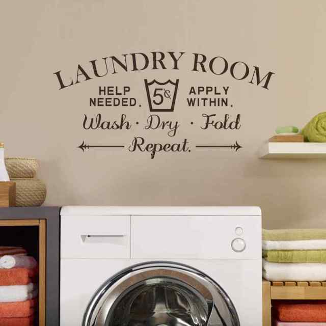 Laundry room wall decal wash dry fold wall stickers for Room decor signs