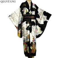 Free Shipping Black Vintage Japanese Women S Silk Satin Kimono Yukata Evening Dress Flower One Size