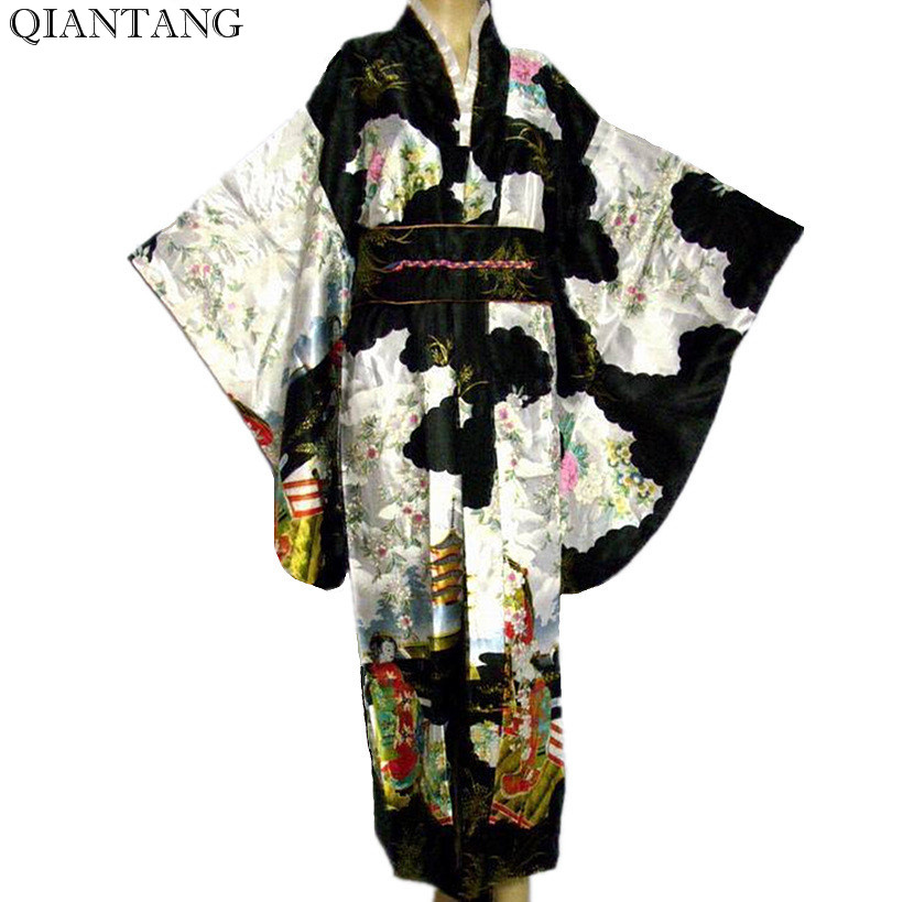 Negro de la vendimia de las mujeres japonesas de seda de satén Kimono Mujeres Quimono Yukata vestido de noche flor un tamaño H0007