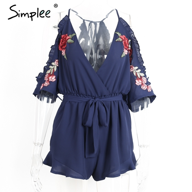 Simplee Flower embroidery ruffle women jumpsuit romper Sexy v neck strap overalls 2017 Summer Vintage high waist playsuit