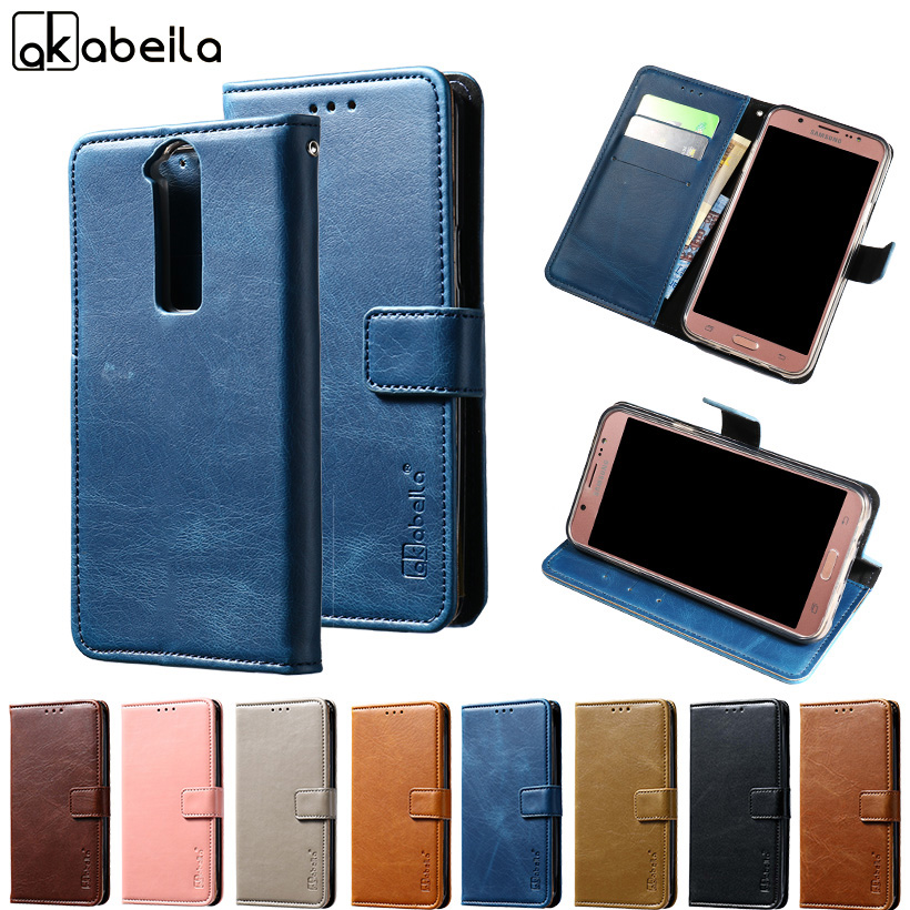 AKABEILA Phone Cover Case For ZTE Axon Mini B2015 B2016 5.2 inch Flip Wallet PU Leather Cases Card Hold Etui CASO