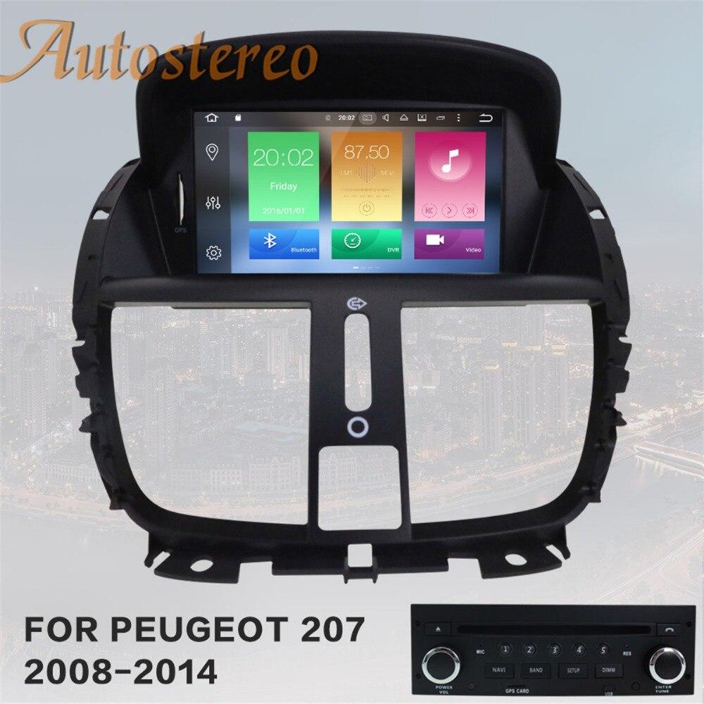 Android 8 4 gb RAM De Navigation De GPS de Voiture Lecteur DVD de Voiture Pour Peugeot 207 2008-2014 autostereo headunit radio multimédia magnétophone