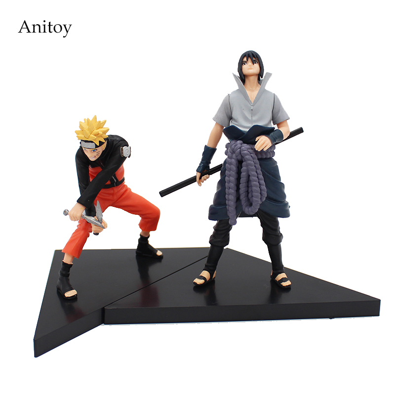 Free Shipping Anime Naruto Uchiha Sasuke + Uzumaki Naruto Doll PVC Action Figure Model Toys 2pcs/set  #LT012 anime naruto pvc action figure toys q version naruto figurine full set model collection free shipping