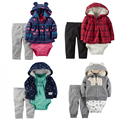 Baby Boy Girl Clothing set 3-Piece Bodysuit & Hooded Long-Sleeve Outwear & Pants carter Cotton Bebes Clothing set