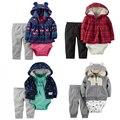Baby Girl Boy Ropa set $ Number Piezas Traje y Con Capucha de Manga Larga Outwear y Pantalones de Algodón carter ropa de Bebes