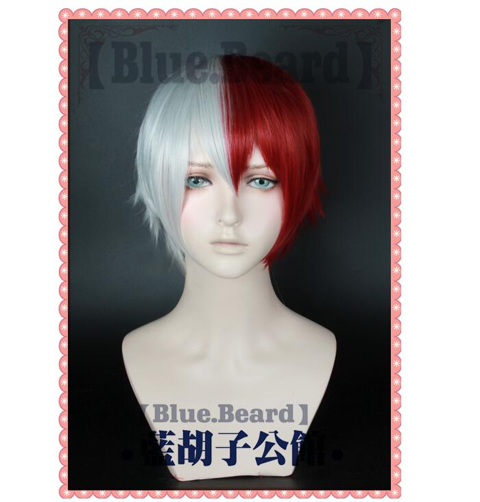 My Hero Academia Todoroki Shoto Boku no Hero Academia Mixed Color Wig White Red Cosplay Hair Halloween Role Play