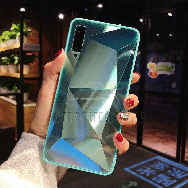 Зеркальный чехол для samsung Galaxy A70 A50 A30 A10 M30 M20 M10 S10 S10e S8 S9 A9 A7 A8 J4 J6 J8 плюс Note9 Мягкая обложка - Цвет: Зеленый