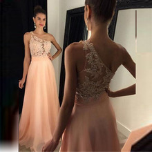 Women Long Evening Dresses Sexy One-Shoulder Sheer Lace Appliqued Prom Gowns 2017 Plus Size  Pageant Party Gowns Custom Made