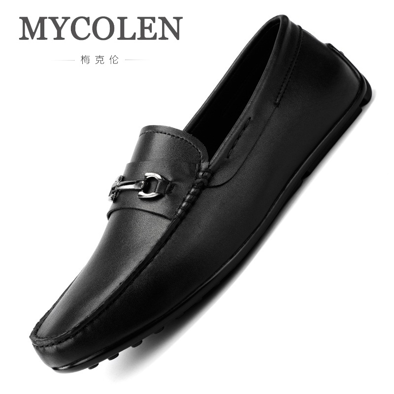 MYCOLEN Mens Shoes Casual Luxury Brand Men Loafers Genuine Leather Moccasins Breathable Slip On Boat Shoes Calzado Hombre mycolen mens loafers genuine leather italian luxury crocodile pattern autumn shoes men slip on casual business shoes for male