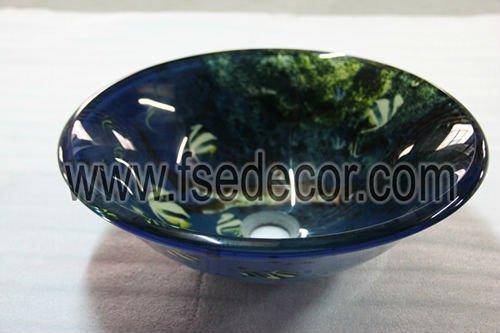 Blue Bathroom Vanity Bowl / Retail & Wholesale,  Tempered Glass, FSE-GS-ST186