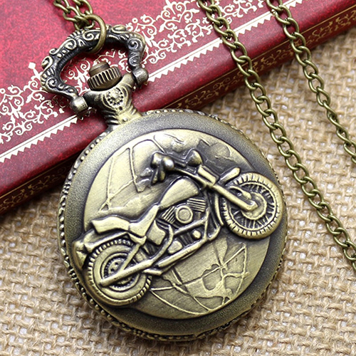 Vintage Bronze Motorcycle Pattern Pocket Watch Necklace Pendant Men Women Gift free shipping hot sale bronze black skull bone pocket watch women female pendant accessory gift for men p1416
