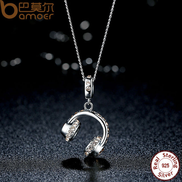 Sterling Silver Musical Headset Necklace