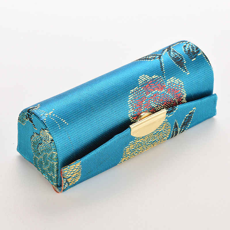 1PC personality Mini Embroidered Flower Design Lipstick pencil Case Box with Mirror Hasp Cosmetic Bags Coin Lipstick Holder