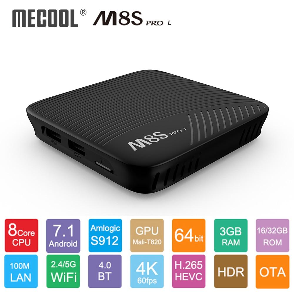 MECOOL M8S PRO L Android 7.1 Amlogic S912 TV BOX commande vocale 4K Streaming 3GB 16 GB/32 GB lecteur multimédia 4K HD WIFI Smart TV BOX