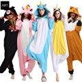 Флис Onesie Единорог Медведь кенгуру Взрослых Животных Пижамы женщин Животных пижамы одна часть Пижамы женщина