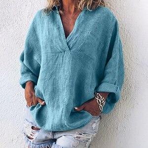 النساء القطن و الكتان عارضة بلون بسيط قميص السيدات Torridity طويل كم قميص فضفاض قميص بلوزة من عنق v قمم