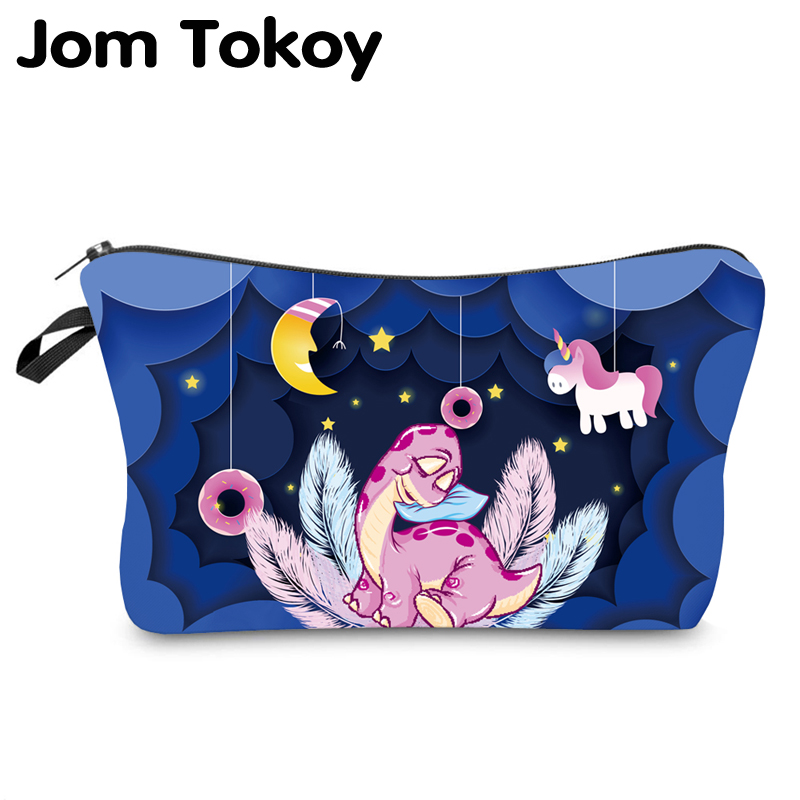 Jom Tokoy Waterproof Cosmetic Organizer Bag Makeup Bag Printing Dinosaur Cosmetic Bag Fashion Women Multifunction Beauty Bag 949
