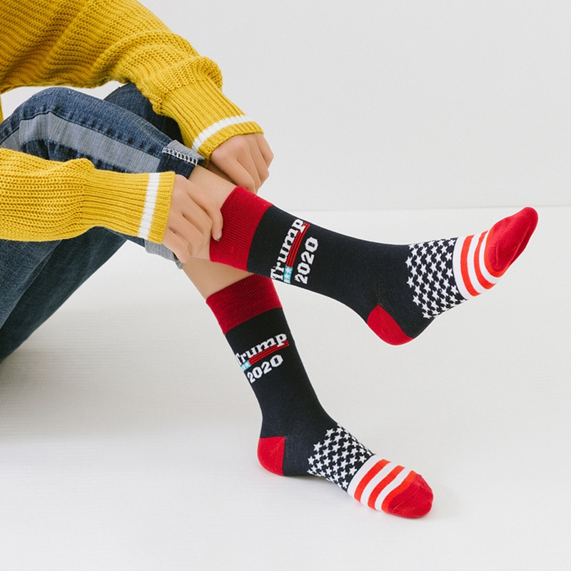 Stitching Color America National Flag Printed Socks Trump 2020 Soft Men Cotton Sock Novelty Personality Chaussette Homme(China)