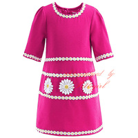 Retail Popular Style Girls Floral Half-Sleeved Rose Red Dress Fashion Chrysanthemum O-Neck Girls Dress Clothing GD90218-620F
