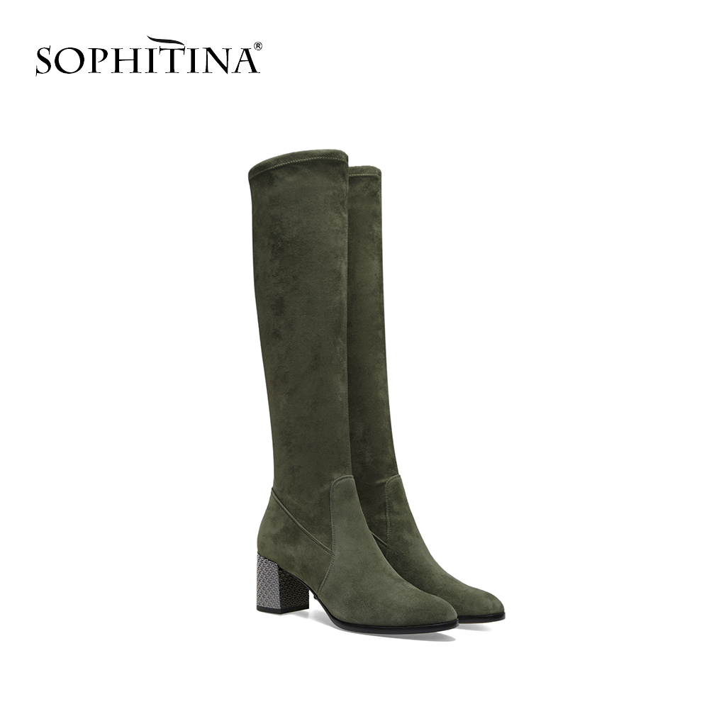 SOPHITINA Over Knee High Boots Elegant Round Toe Square Heel Woman Boot 2018 Fashion High Quality Stretch Fabric Woman Shoes B71