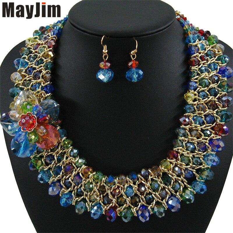 Déclaration collier 2018 mode Bijoux ensembles fait à la main perles chaîne cristal fleurs dubai Bijoux ensembles Vintage Bijoux accessoires