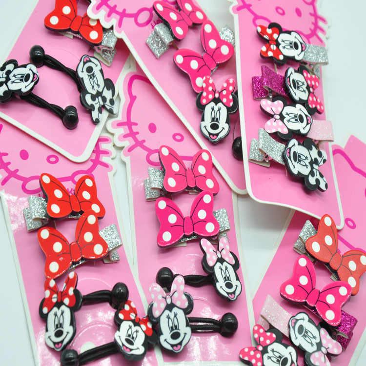 ดิสนีย์การ์ตูน Mickey Mouse เด็กคลิปผมเชือกอุปกรณ์เสริม headwear สาวของขวัญผม pin เครื่องสำอางเด็กยาง band