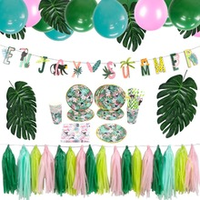 Summer Green Jungle Party Decoration Set Balloons Foil Swirl Tropical Hawaiian Birthday Bridal Show Baby shower
