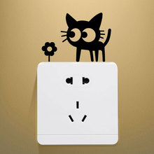 Cute Cat Switch Sticker Home Decor Wall Stickers Decoration Decal Decorative Accessories