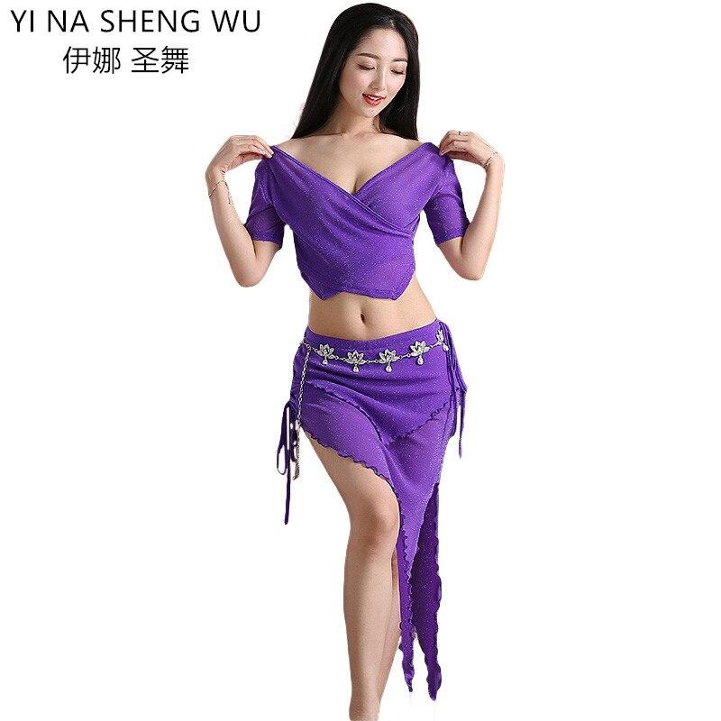 Dame femmes adulte danse du ventre pratique vêtements indien danse Costume Costume 2 pièces profond V haut et jupe Bellydance débutant danse porter