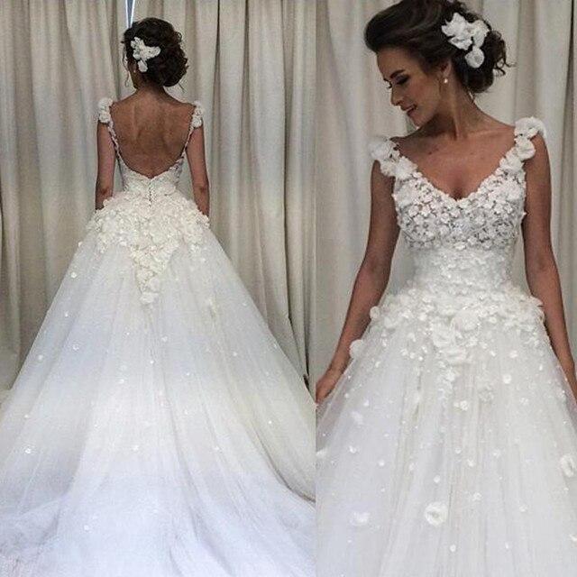 Schöne Weiße Blumen Brautkleider Backless Ballkleid Brautkleid ...