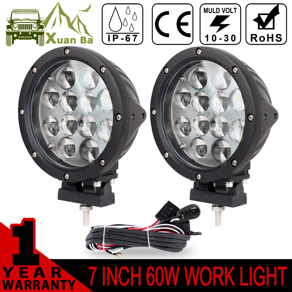 ФОТО XuanBa 7 Inch 2Pcs 4D 60W Led Work Light 12V Spot Flood Beam Fog Lamp 4x4 Offroad 4WD ATV SUV Tractor 24V Truck Driving Lights