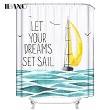 IBANO Shower Curtain Fish Sea Customized Bath Curtain Waterproof Polyester Fabric Curtain For The Bathroom With 12pcs Hooks window sailboat sea waterproof bath curtain