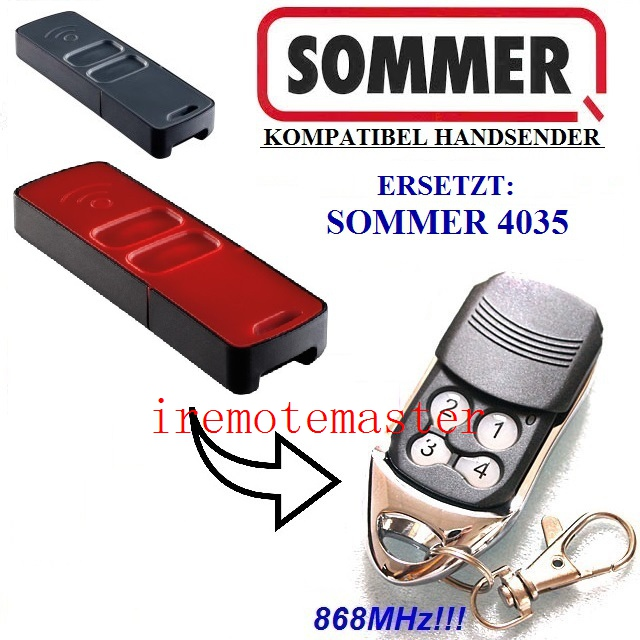 SOMMER remote 4035 ,SOMMER garage door remote control replacement 868,8MHZ der sommer ohne manner