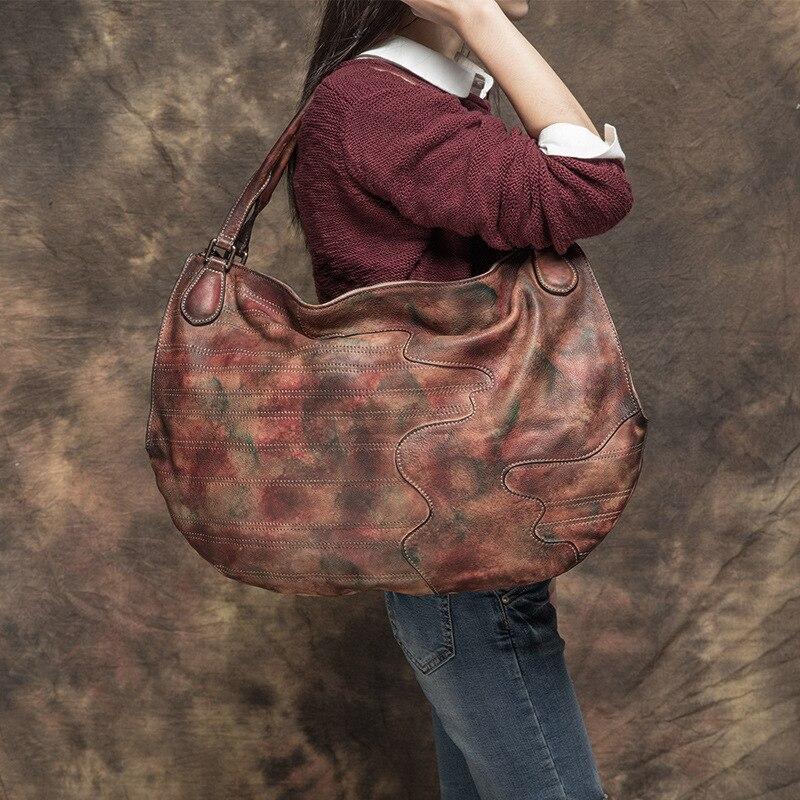 2017 Women Handbag Vintage Genuine Cowhide Top Handle Hobos Large Capacity Lady Bags Handmade Cow Leather Shoulder Casual Tote vintage women small shoulder bags open hobos crossbody bags lady s handbag