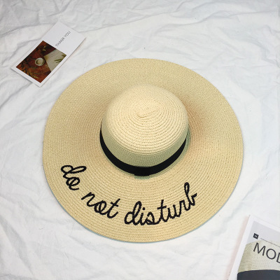 74f48956cb1f4 Hot sale wide Brim sun hats for women Letter Embroidery straw Hats girls Do  Not Disturb Ladies Straw hats