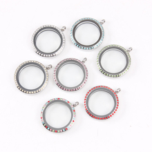 7 Colors Round Water Proof Floating Locket Stainless Steel Twist Screw  Crystal Glass DIY Jewelry
