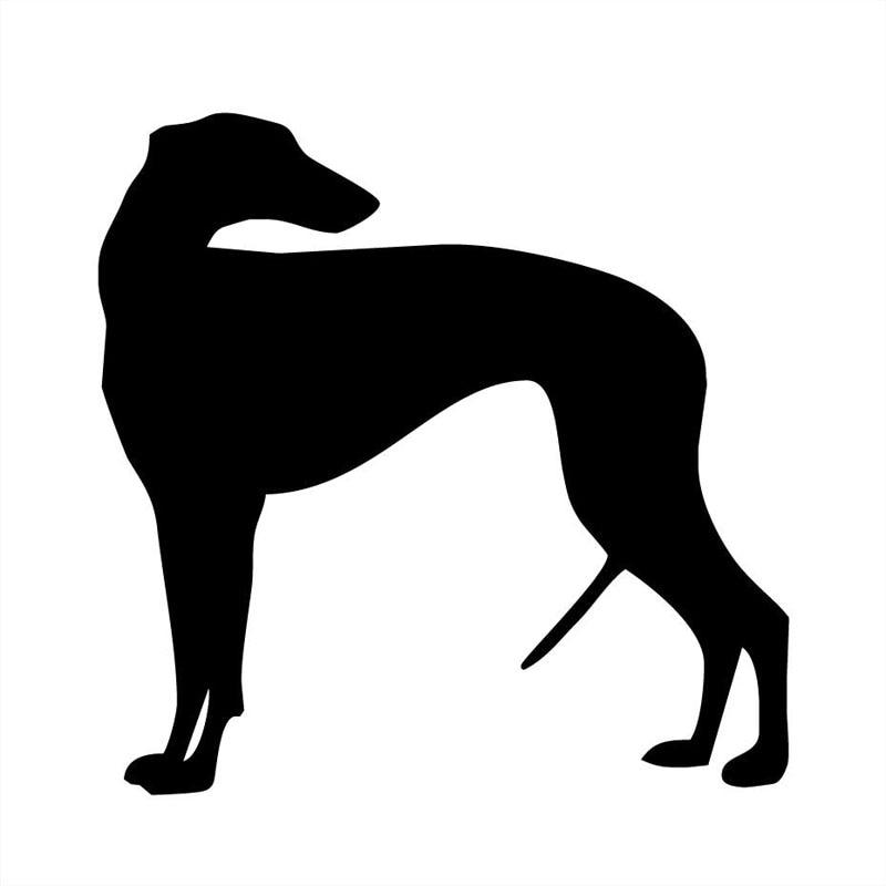 13*13CM Greyhound Dog Vinyl Decal Car Sticker Classic Cartoon Animal Car Accessories Black/Silver C6-1352 15 5 12 7cm rottweiler dog vinyl decal cartoon animal car window decorative stickers motorcycle accessories c6 0240