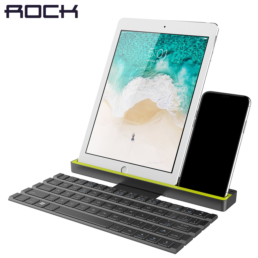 ROCK Foldable Bluetooth Keyboard for iPad Pro Mini Air, Multi-Function Rollable Bluetooth Keyboard for iPhone Quick to Switch