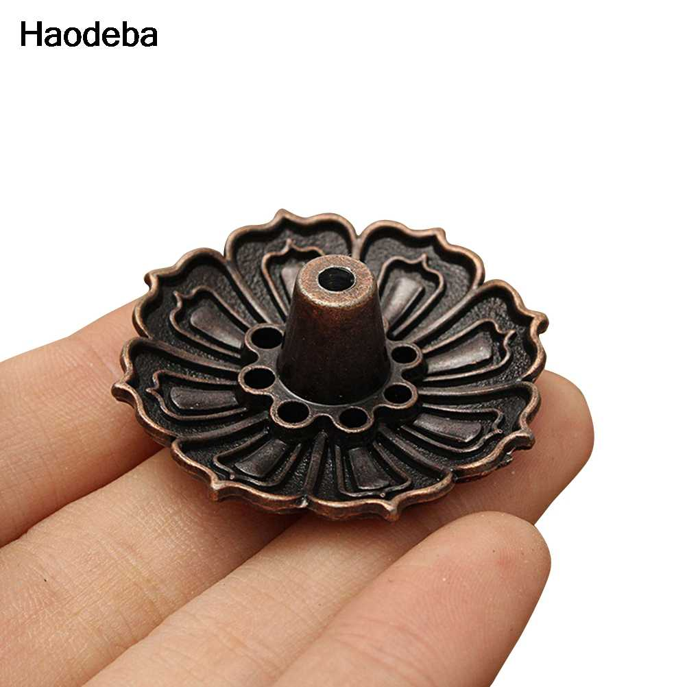 Haodeba 1PCS Mini Lotus Flowers Incense Burner Stick Holder Incense Base Plug Home Decoration