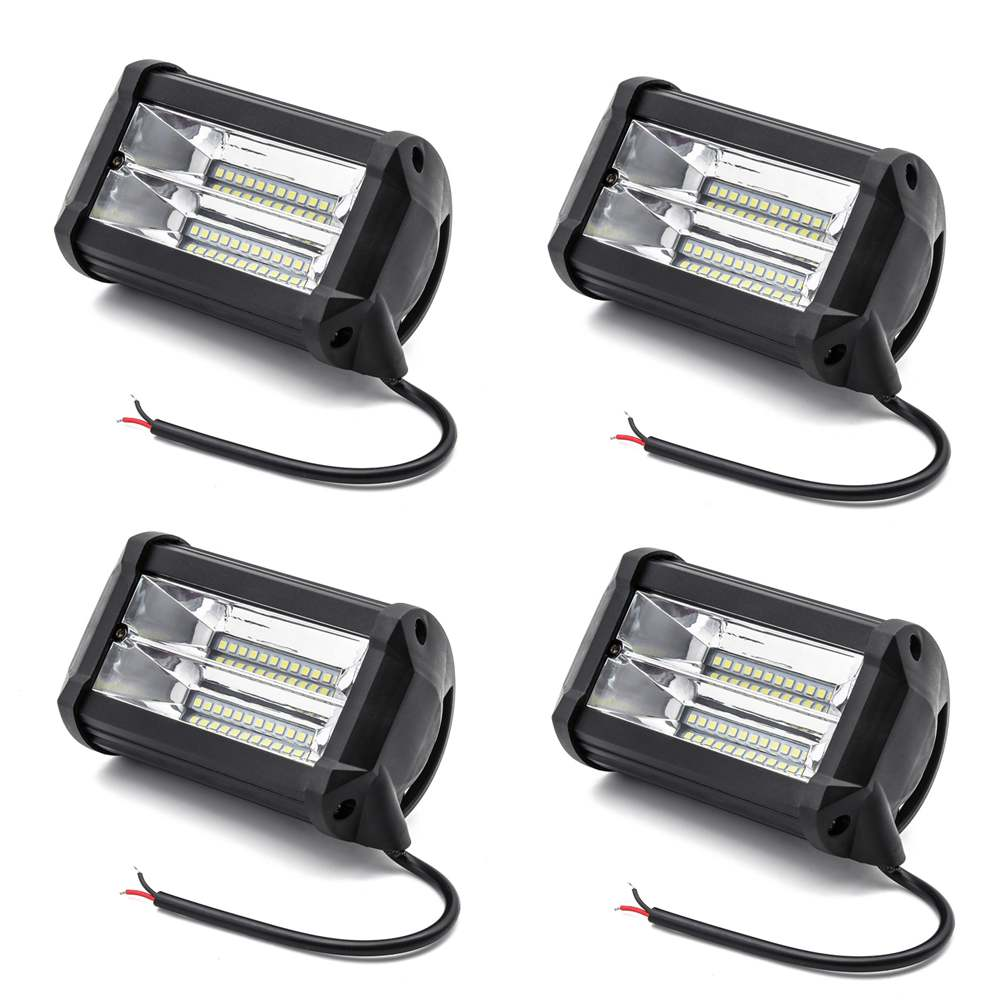 4 Pieces 72W Car LED Work Light Bar 12V 5 Inch 4D Lamp for Auto Fog