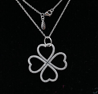4cbf09e18 ... shopping four leaf pendants clover necklaces compatible with pandora  jewelry 925 sterling silver leaves necklaces in