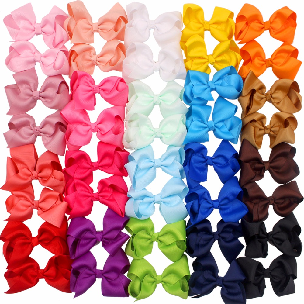 Clearance SaleBows-Clips-Accessories Ribbon-Hair Toddlers Girls Large Kids for 40pcs