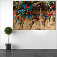 كبيرة الحجم الطباعة الطيور الببغاوات كثير الألوان شجرة جدار الفن صورة ديكور المنزل غرفة المعيشة الحديثة قماش طباعة لا إطارات wlong