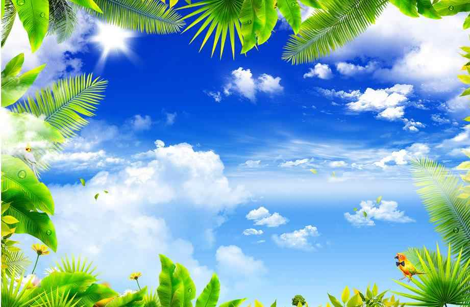 Пользовательские 3d потолочные фрески голубое небо и белые облака 3d потолочные роскошные обои для гостиной 3d потолочные фрески для спальни