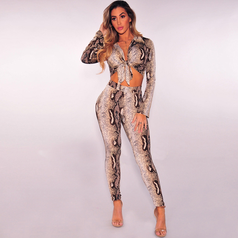 2018 New Fashion Snakeskin Jumpsuit Women Sexy Deep V Neck Party Rompers Womens Jumpsuit Nightclub Bodysuit Women Overalls