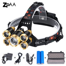Zoom High Power Flashlight Headlight T6 LED Front Head Light Lamp 18650 Rechargeable Headlamp for Hunting and Fishing