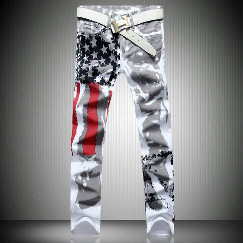 fashion stylish cool mens pants   jeans   with print graffiti painted denim slim fit white   jeans   men hip hop rock street wear2019