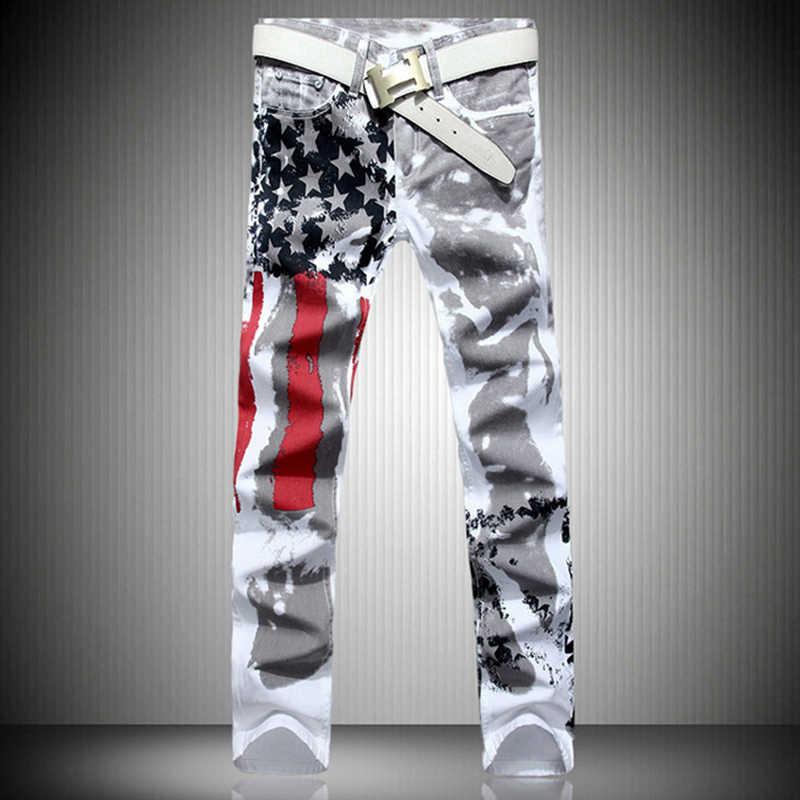 fashion stylish cool mens pants jeans with print graffiti painted denim slim fit white jeans men hip hop rock street wear2019