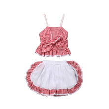 Kid Baby Girl Ruffle Plaid Sleeveless Strap Bow Tie Shirt Party Tutu Skirt Outfits Clothes Set 2019