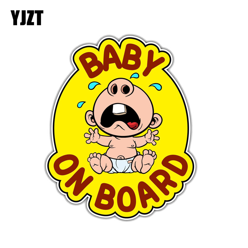 YJZT 12.7CM*15.2CM Warning Baby On Board Funny PVC Decal Car Sticker 12-0233